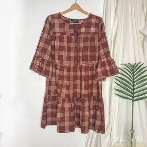 Suzanne Betro Red Plaid Tiered Bell Sleeve Dress